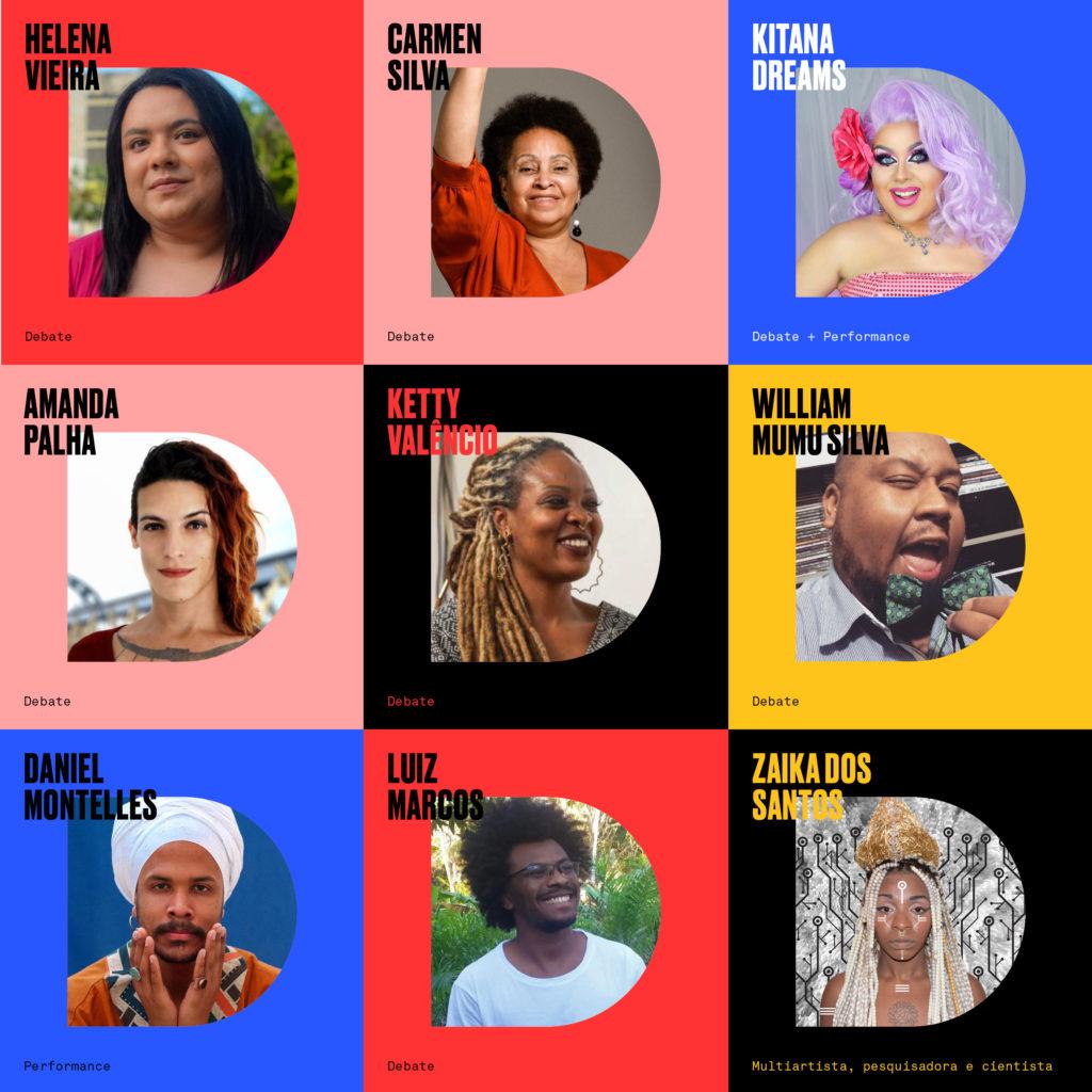 fundo colorido com fotos de pessoas diversas