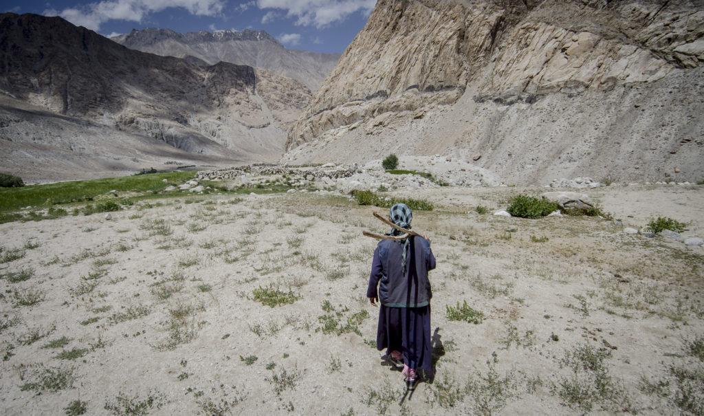 Paisagem árida com montanhas e pedras e uma pessoa idosa com roupas coloridas andando rumo ao horizonte. Imagem ilustra o tema do artigo: o poder das histórias.